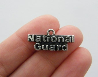 4 National guard charms antique silver tone G58