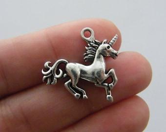 BULK 10 Unicorn charms antique silver tone A574