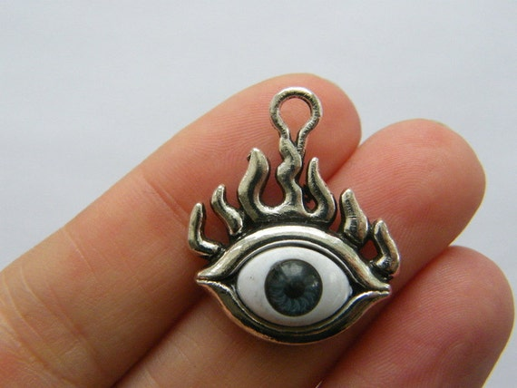 4 Eye charms antique silver tone I88