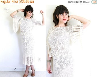 ON SALE 1970s Wedding Dress / 70s Crochet Dress / 1970s Boho Angel Sleeves Ecru Crocheted Lace Wedding Dress