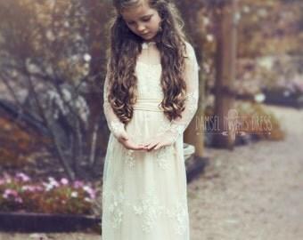 Lace full length Flower Girl Dress|Ellie|Damsel in this Dress