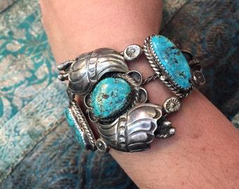 Native American Turquoise Bracelet - Sterling Silver - 1960's - Vintage