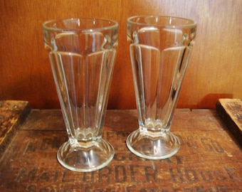 Ice Cream Soda Glasses - Old Fashion Soda Fountain Glasses Set of 2