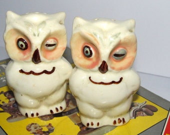 Vintage Owl Salt Pepper Shakers