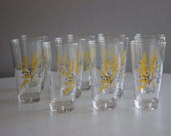 Set of 11 Vintage Wheat Drinking Glasses with Gold Rim
