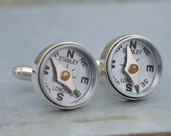steampunk cufflinks, Point Me To The Right Direction, real working compass cuff links in silver, vintage style cufflinks for men,