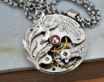 steampunk jewerlry necklace LOVE TAKES TIME antique year 1900s Waltham pocket watch movement necklace with iris flower