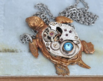steampunk jewelry sea turtle necklace,  TAKE YOUR TIME, vintage watch movement necklace with Swarovski rhinestones