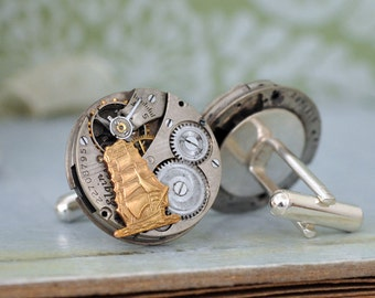 steampunk cufflinks JOURNEY Till END Of TIME lady Elgin jeweled watch movement cuff links