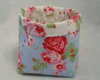 Cath Kidston Rosali Ikea blue rose/white rose fabric Bits & bobs Storage basket/box/tub