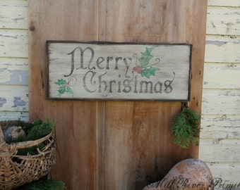 Primitive Wooden Merry Christmas Sign