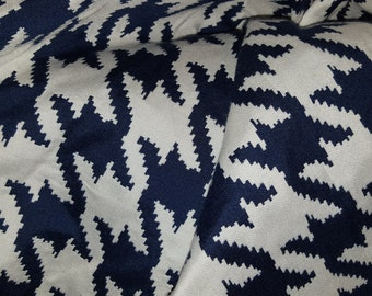 HOUNDSTOOTH NAVY And WHITE Woven Cotton Blend Upholstery Fabric,  08-14-20-1215