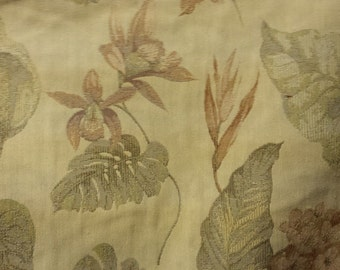Muted Gold Melon OliveTROPICAL FLORAL WOVEN Upholstery Fabric,37-29-02-077