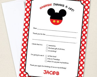Mickey Mouse Party Thank You Cards - Professionally printed *or* DIY printable