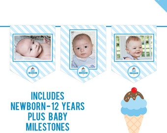 INSTANT DOWNLOAD Blue Ice Cream Party - DIY printable photo banner kit