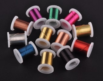 New 3 Yards/Roll 0.3mm 0.4mm 0.5mm 12 Colors Spools Copper Metal Wire Craft Jewelry Making Finding Crafts---LX013-1~3