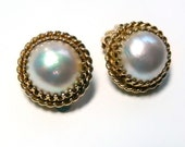 14k Mabe Pearl Earrings Small Clip Ons