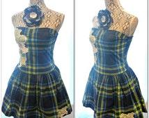 Sale boho Plaid sundress, Tartan dress, upcycled Hollister, romantic country clothing, artsy altered dress, true rebel clothing, sm Med