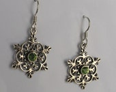 RESERVED Vintage Sterling  Proud to be a  Snowflake Peridot Earrings