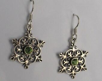 SALE Vintage Sterling  Earrings  Snowflake Peridot Earrings