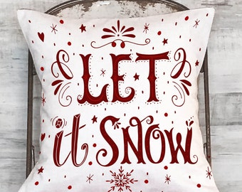 Pillow Cover Red Let It Snow