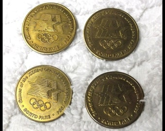 1984 Los Angeles Olympic SCRTD Fare Token Coins Lot of 4 Track & Field- Wight Lifting- Gymnastic- Wrestling Free Shipping