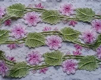 Pink Green Lace  Hand Dyed Venise Lace Embellishment Trim