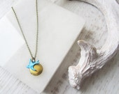 Little Blue Bird Locket Necklace, Small Photo Locket, Vintage Style Necklace, Valentines Day Gift, Bridesmaids Gift