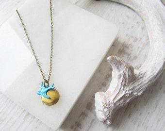 Little Blue Bird Locket Necklace