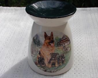 A German Shepard Mom & Pups Ceramic Tea Light Tart Burner