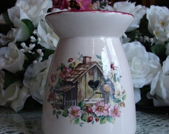 Home Tweet Home Chickadee Manor! Ceramic Tea Light Tart Burner