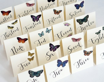 Butterfly Wedding Table Numbers 1 to 20 - Ivory Table Number Cards - Bohemian Wedding - Tent Style - 5.5 x 5.5 inches - One Sided - OOAK