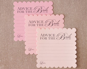 Bridal Shower Advice Cards - Advice for the Bride to Be - Fill Out Card for Guest - 3 Shades Ombre Pink - Game or Guestbook Alternative