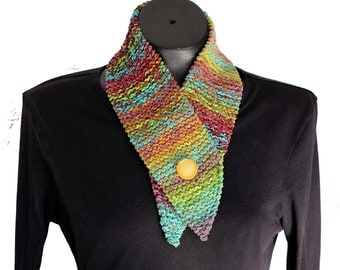 Knit Scarflette / Cotton Chenille Scarf with Button / Knit Neckwarmer / Southwest Colors Scarf