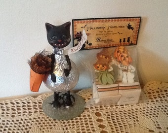 Bethany Lowe Black Cat Miss Kitty Kisses Hershey Kiss Sweets Rare Vintage Halloween Collectible Decoration Figurine