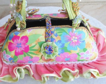 Vintage Inspired Designer Mary Frances Purse - Chic and Classy - Ruffles and Beads - Going on a Cruise - Wedding - Off to Hawaii - Chic Diva