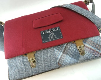 """FREE US SHIPPING Messenger Bag, Mens 15"""" Womens laptop Messenger Bag , 15""""  Macbook Pro Laptop Sleeve Suit coat Upcycled bag, Ready to Ship"""