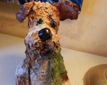 OOAK Paper Clay Puppy Dog Sculpture by Maure Bausch