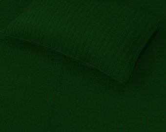 Emerald Green Bedding-Cotton Quilt-King Coverlet-Washed linen Bedding-Green Decor-Linen Blanket-Reversible-Solid Colour Quilt-Best gift