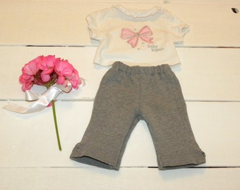 Grey Knit Pants and White Tshirt - 16 - 17 inch doll clothes