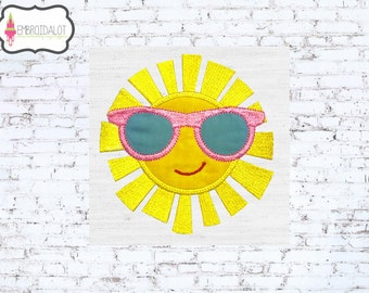 Fun sun embroidery. Cool summer sun applique embroidery for the summer. Summer applique, beach embroidery, pool embroidery.