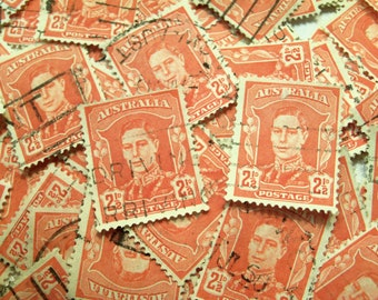200 Red Stamps, Vintage stamps, Australian Stamps, Craft Stamps, Card Making, Collage