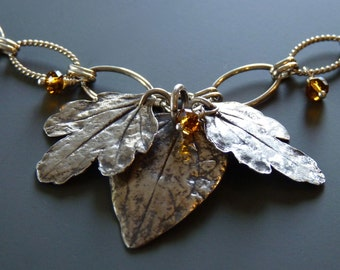 Three fine silver leaves on sterling silver chain
