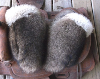 Raccoon fur mittens with coyote trim and red fleece liner handmade X large
