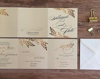 Copper U0026 Gold Wedding Invitations · Tri Fold All In One Wedding Invitation