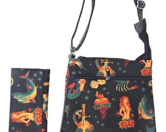 "A Cross Body Bag & A Matching Wallet With "" SKULLS TATTOO"" Gothic Halloween Pattern, Cotton, New , (Only 2 Items)"