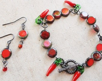Red Hot Chili Pepper Beaded Bracelet and Earring Set By Distinctly Daisy
