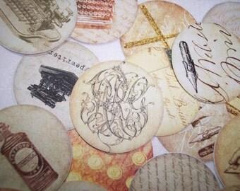 Beautiful Vintage Wrighting Circle Stickers Set of 24