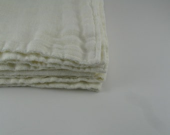 Double Layer Handmade Linen Blanket  / Throw --- Off White