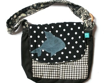 Sale!eco-friendly toddler messenger bag,reclaimed fabrics,white polka dots dark blue, black and white hounds tooth, leather fish design